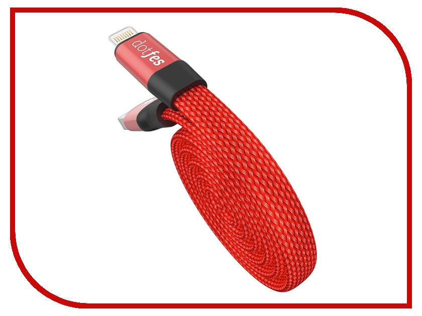 Аксессуар Dotfes Lightning A09 Self-Rolling 0.8m Red 14762 аксессуар dotfes microusb a09m self rolling 0 8m grey 14769