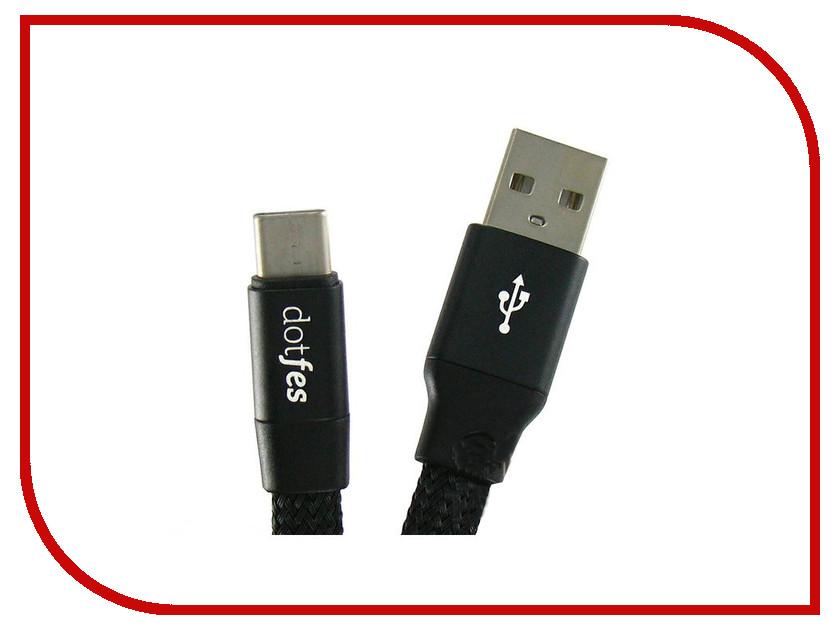 Аксессуар Dotfes USB Type-C A09T Self-Rolling 0.8m Black 14767