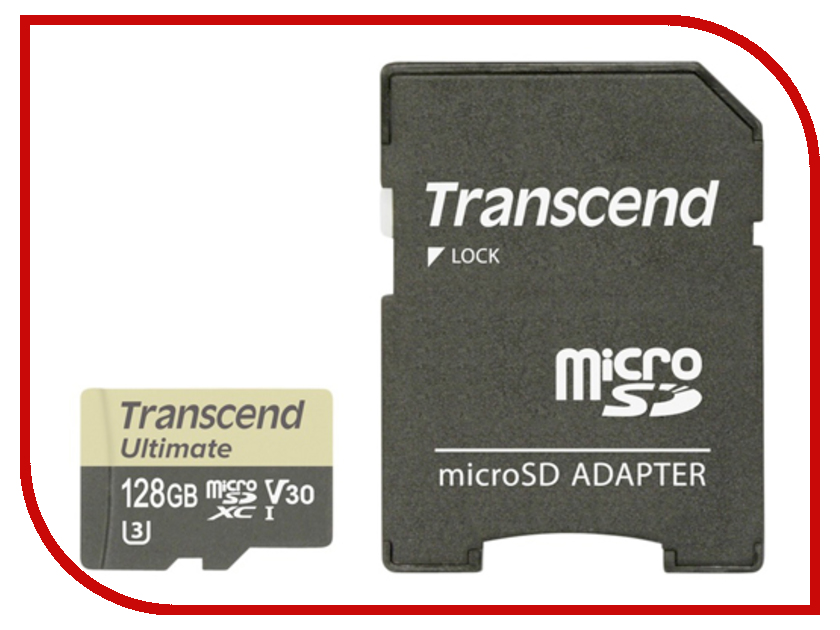 Карта памяти 128Gb - Transcend Ultimate Micro Secure Digital XC Class 10 UHS-I TS128GUSDU3M с переходником под SD карта памяти 128 гб для телефона