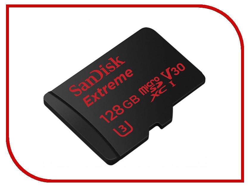 Карта памяти 128Gb - SanDisk Extreme microSDXC V30 A1 UHS-I U3 SDSQXAF-128G-GN6MA с переходником под SD