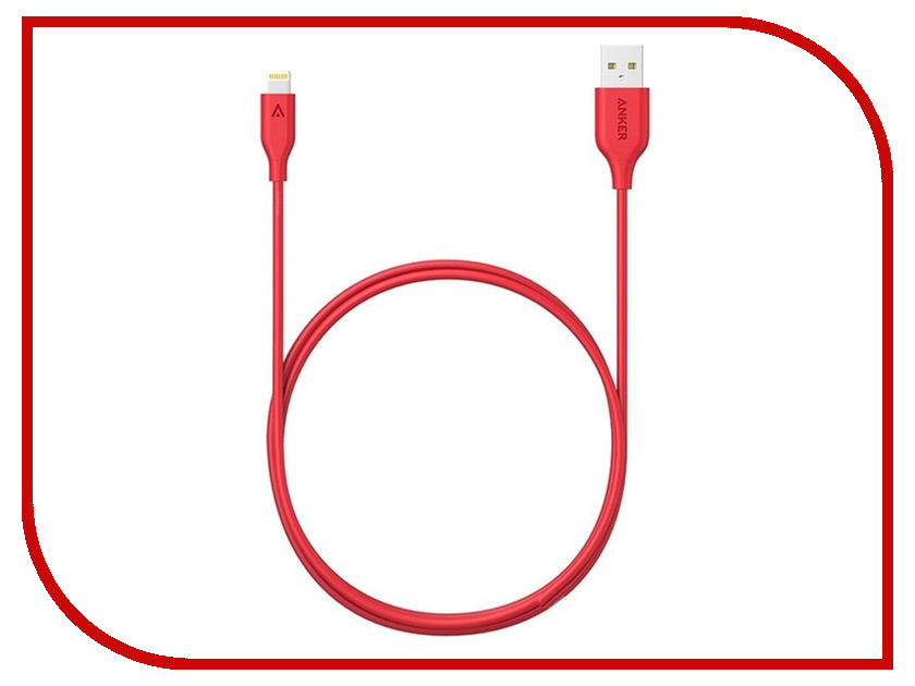 Anker - Аксессуар Anker Powerline USB - Lightning 0.9m A8111H91 Red 906995