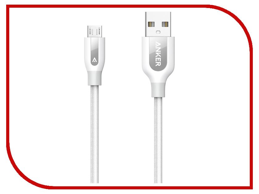 Аксессуар Anker Powerline+ Micro USB 3m A8144H21 White 908160 аксессуар anker premium aux 3 5mm 3 5mm 1 2m a7123011