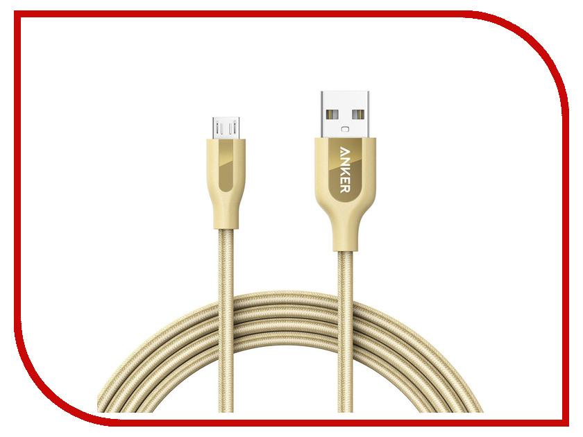 Аксессуар Anker Powerline+ Micro USB 3m Gold A8144HB1 906999 аксессуар anker powerline usb lightning a8111h21 0 9m white