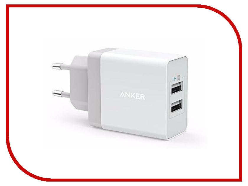цена Зарядное устройство Anker PowerPort 2xUSB Wall Charger A2021L21 White 908106 онлайн в 2017 году