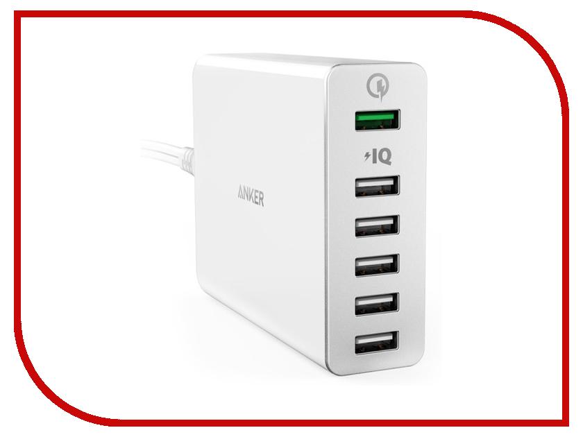 цена Зарядное устройство Anker PowerPort+ 6xUSB Quick Charge 3.0 White A2063L21 908110 онлайн в 2017 году