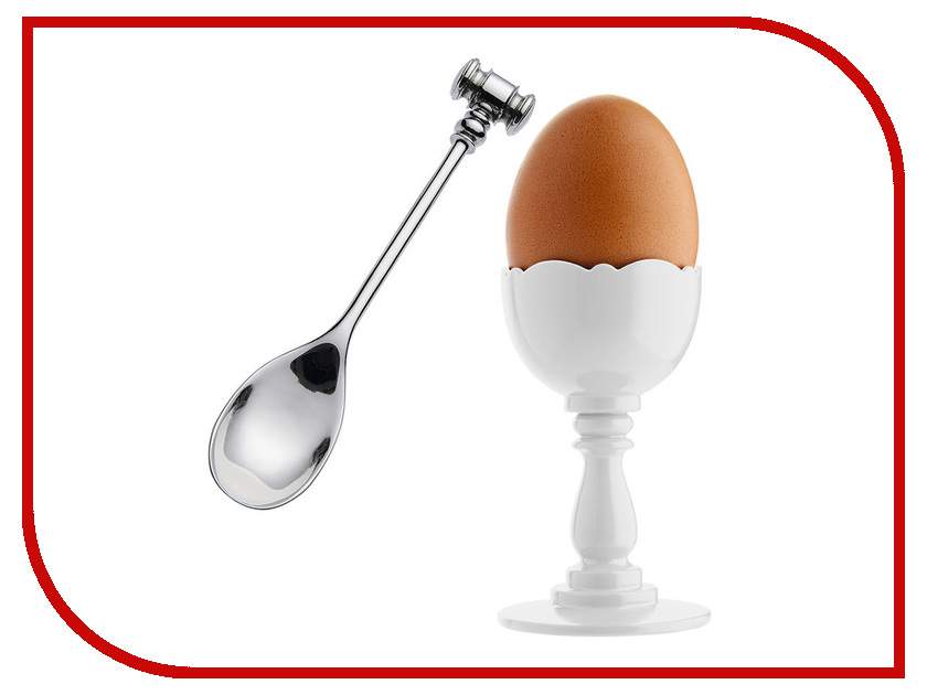 Подставка + ложка для яйца Alessi Dressed MW14SET White аксессуар доска для завтрака alessi dressed in wood mw12