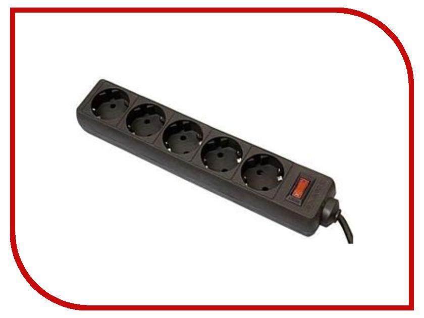 Сетевой фильтр Defender ES 5 Sockets 3m Black 99485 удлинитель supra 7 sockets 3m light gray sf 7 es 3m