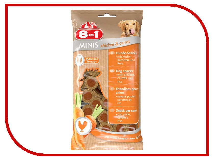 Лакомство 8 in 1 Minis Chicken & Carrot 100g для собак 122722