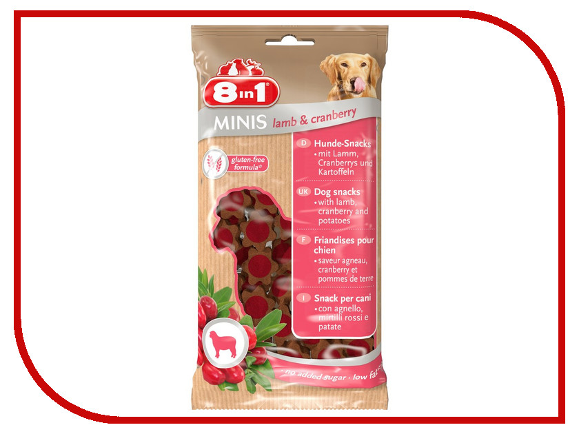 Лакомство 8 in 1 Minis Lamb & Cranberry 100g для собак 122746