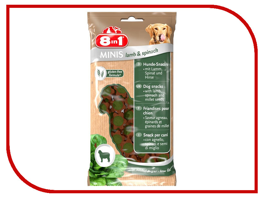 Лакомство 8 in 1 Minis Lamb & Spinach 100g для собак 125242