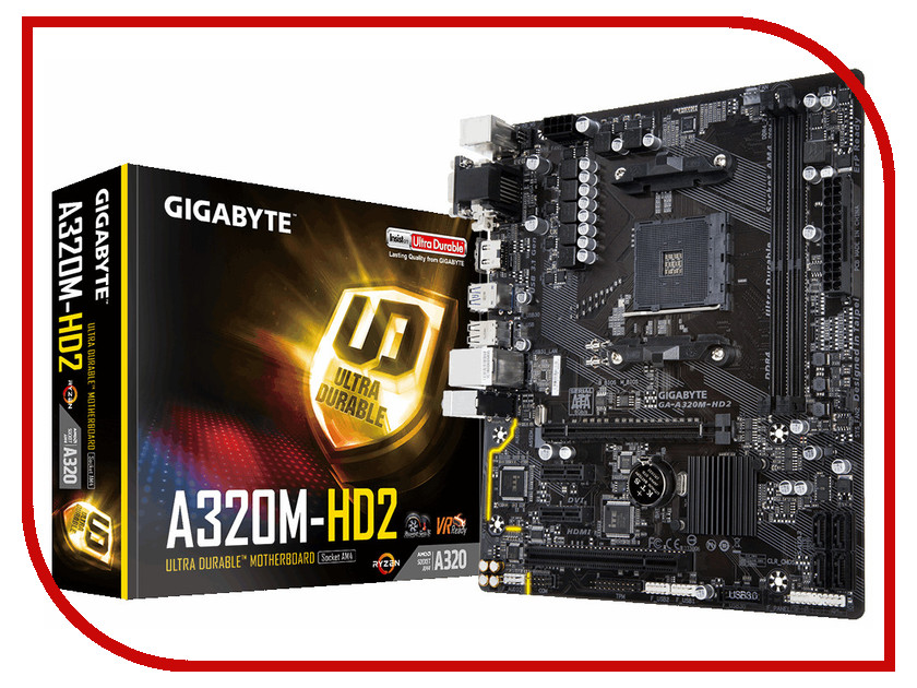 Материнская плата GigaByte GA-A320M-HD2 gigabyte ga z170x ud5 th