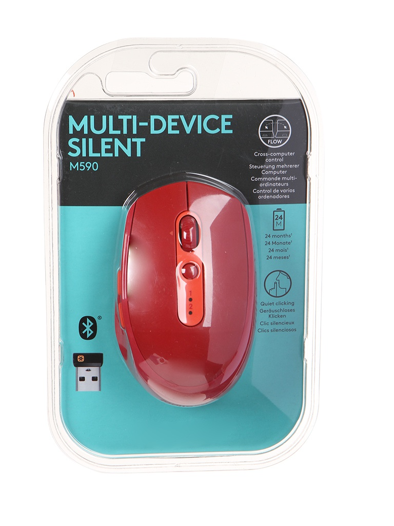 Мышь Logitech M590 Red USB 910-005199