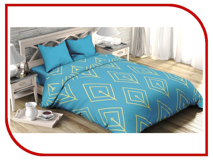 Постельное белье Этель Бирюзовый лепесток Комплект 2 спальный Поплин 2565799