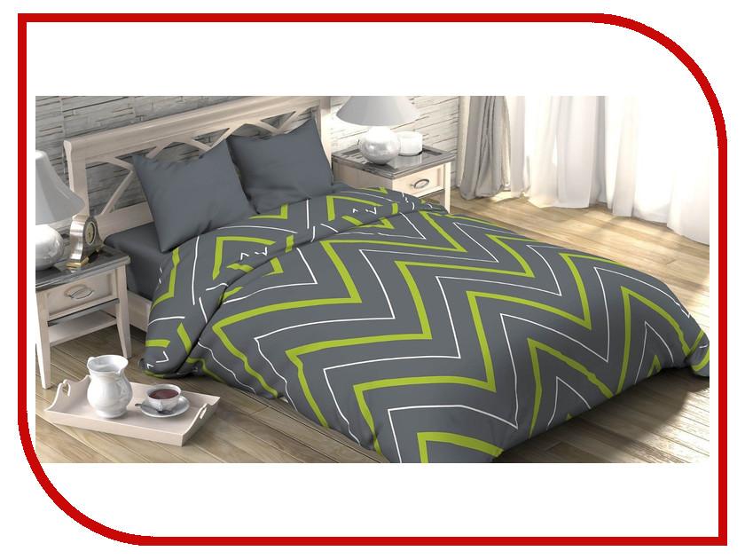 Купить Постельное белье Этель Зелёно-серые зигзаги Комплект 2 спальный Поплин 2565811
