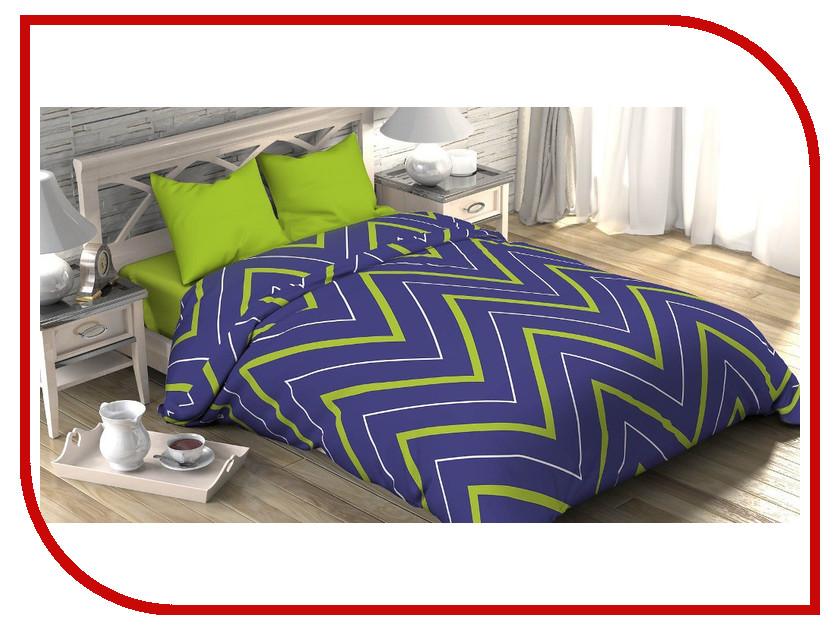 Постельное белье Этель Зелёно-синие зигзаги Комплект 2 спальный Поплин 2565819 постельное белье этель монстера комплект дуэт поплин 1534708