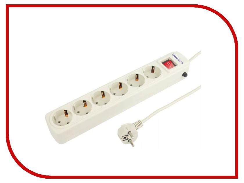 Сетевой фильтр Ippon BK-232 6 Sockets 3m White сетевой фильтр daesung mc2533 3 sockets 3m