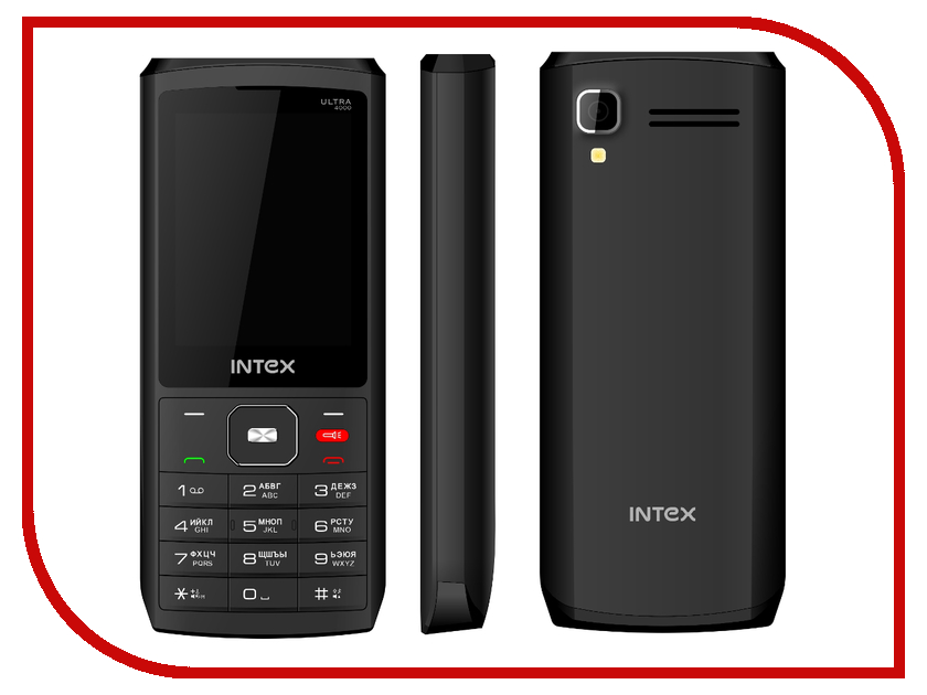Сотовый телефон Intex Ultra 4000 Black кровать comfort plush 152х203х56см со встроенным насосом 220в intex 64418