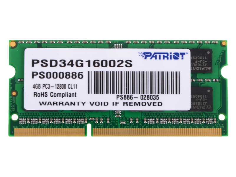 Модуль памяти Patriot Memory DDR3 SO-DIMM 1600Mhz PC3-12800 - 4Gb PSD34G16002S