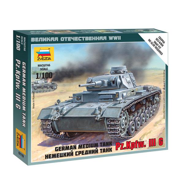 Сборная модель Zvezda Немецкий средний танк Pz.Kp.fw.III G 6119 сборная модель звезда zvezda немецкий танк королевский тигр 6204