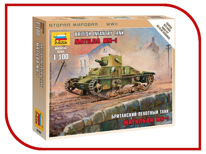 Сборная модель Zvezda Британский танк Матильда Mk-1 6191 танк звезда матильда ii британский средний 1 100 6171