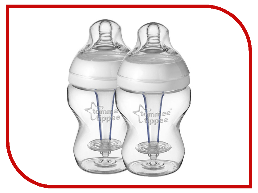 Бутылочка Tommee Tippee 260ml (2шт) с усиленным антиколиковым клапаном и индикатором температуры 42252541