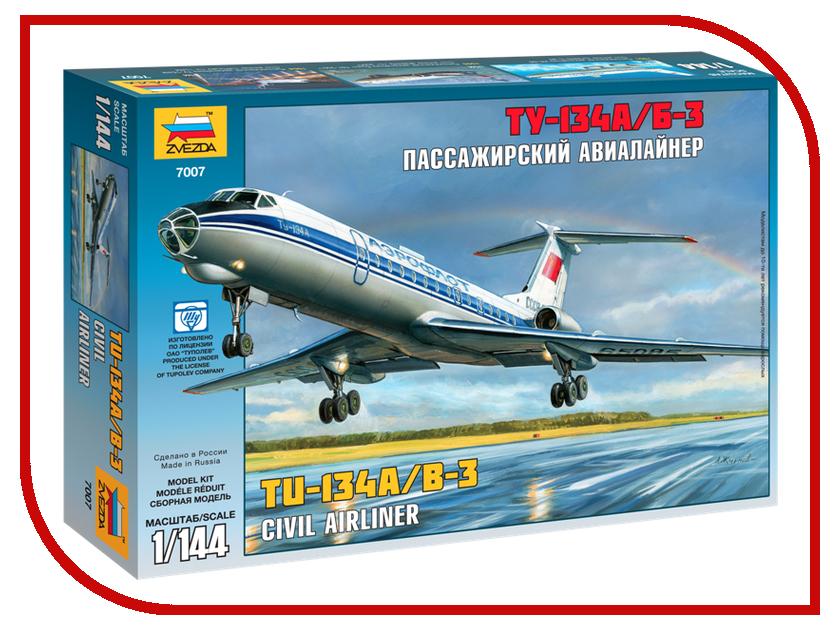 Сборная модель Zvezda Пассажирский авиалайнер Ту-134 7007 звезда сборная модель пассажирский авиалайнер ил 62м