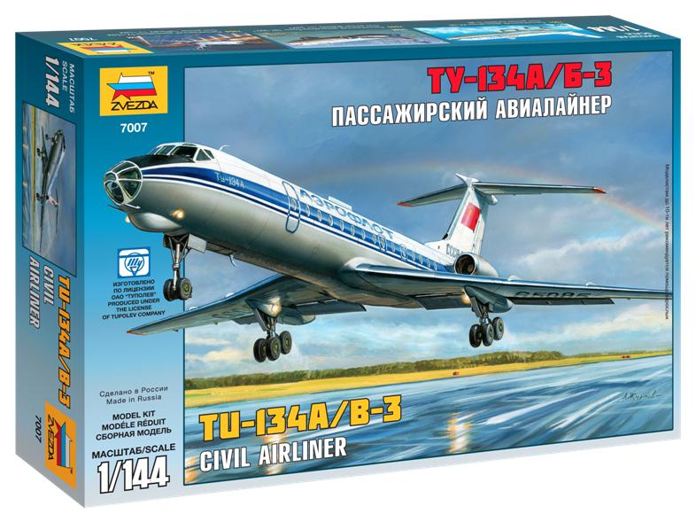 Сборная модель Zvezda Пассажирский авиалайнер Ту-134 7007