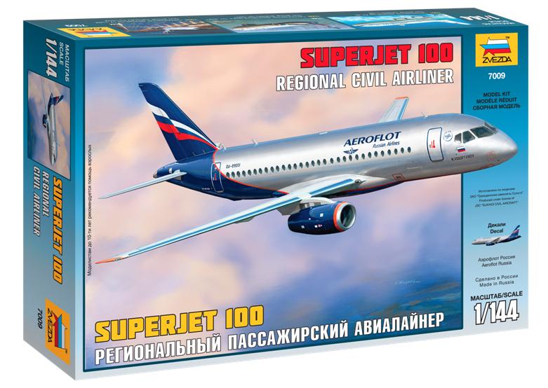 Сборная модель Zvezda Пассажирский авиалайнер Суперджет 100 7009