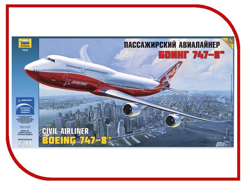 Сборная модель Zvezda Пассажирский авиалайнер Боинг 747-8 7010 сборная модель zvezda вертолет ми 8 7230
