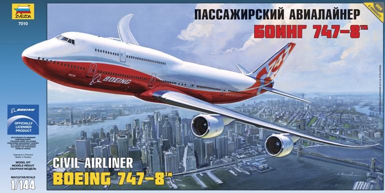 Сборная модель Zvezda Пассажирский авиалайнер Боинг 747-8 7010