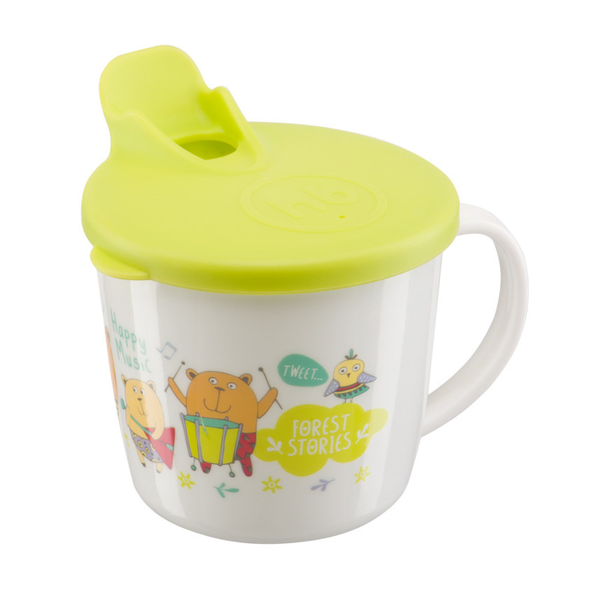 кружка на присоске happy baby baby cup with suction base 15022 red Тренировочная кружка с крышкой Happy Baby 15010 Training Cup Lime 4650069780663