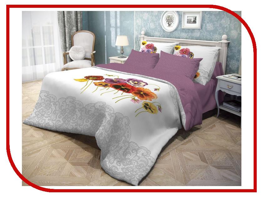 Постельное белье Волшебная ночь Фиалки Комплект Евро Ранфорс Purple 701932 / 701933