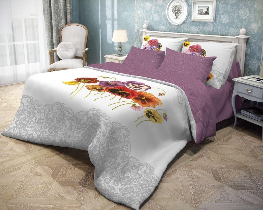 Постельное белье Волшебная ночь Фиалки Комплект Евро Ранфорс Purple 701932