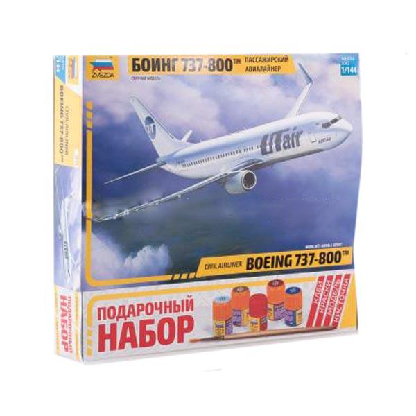 Сборная модель Zvezda Пассажирский авиалайнер Боинг 737-800 7019П
