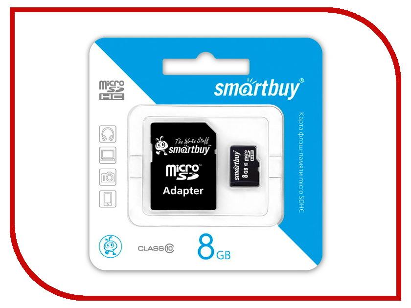 Карта памяти 8Gb - SmartBuy Micro Secure Digital HC Class 10 SB8GBSDCL10-01 с переходником под SD