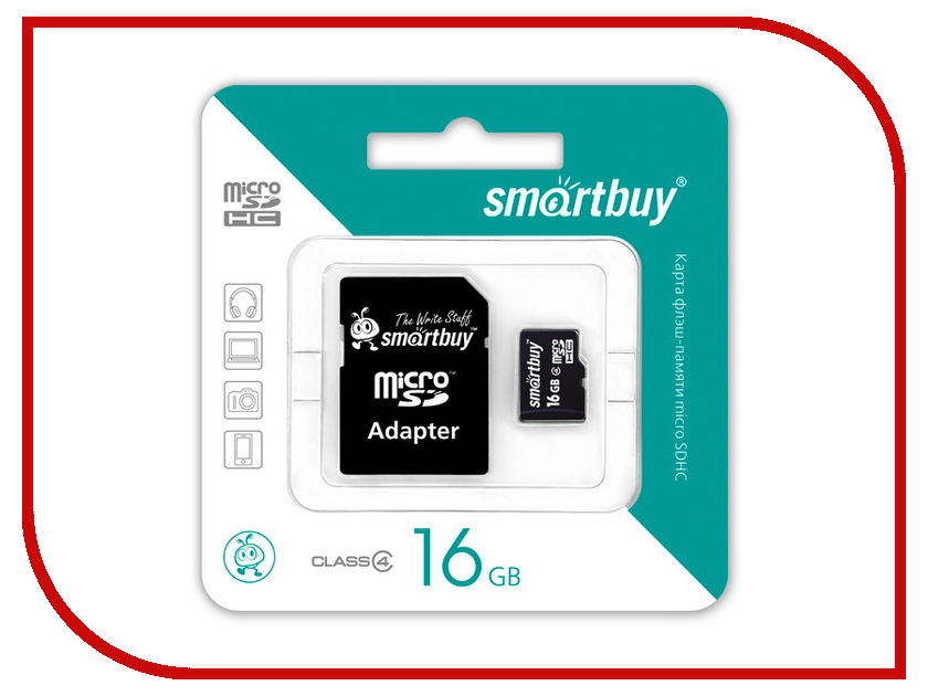 Карта памяти 16Gb - SmartBuy Micro Secure Digital HC Class 10 SB16GBSDCL10-01 с переходником под SD secure digital memory card capacity 16gb sd card 16g