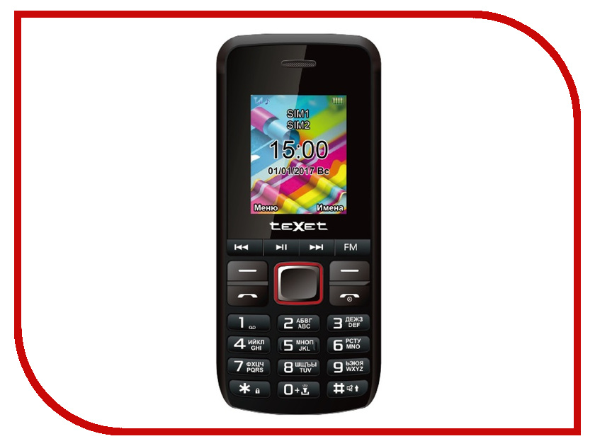 Сотовый телефон teXet TM-203 Black-Red сотовый телефон texet tm 401 champagne