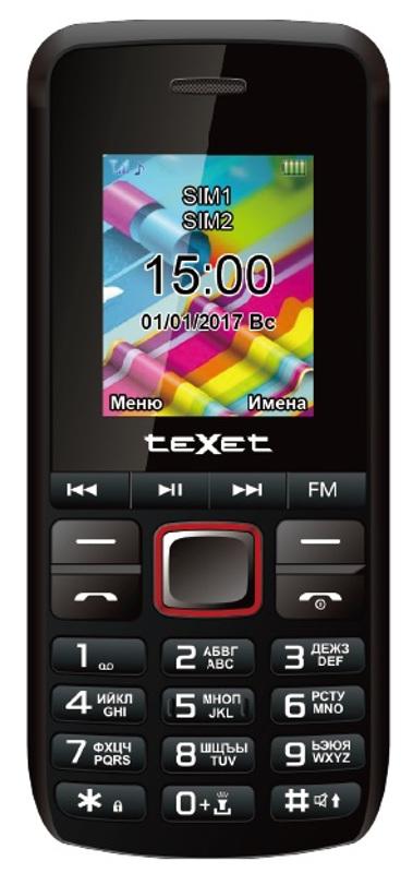 Сотовый телефон teXet TM-203 Black-Red мобильный телефон texet tm d228