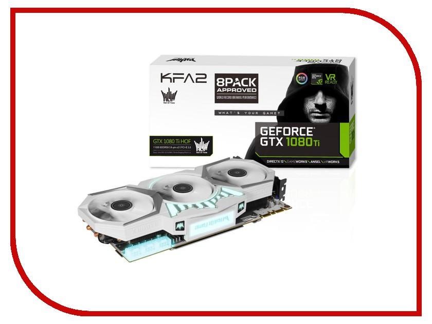 Видеокарта KFA2 GeForce GTX 1080 Ti HOF 1569Mhz PCI-E 3.0 11264Mb 11000Mhz 352 bit DVI HDMI HDCP White 80IUJBDHQ7FK 7126852 видеокарта asus geforce gtx 1060 1620mhz pci e 3 0 6144mb 8208mhz 192 bit dvi hdmi hdcp rog strix gtx1060 o6g gaming