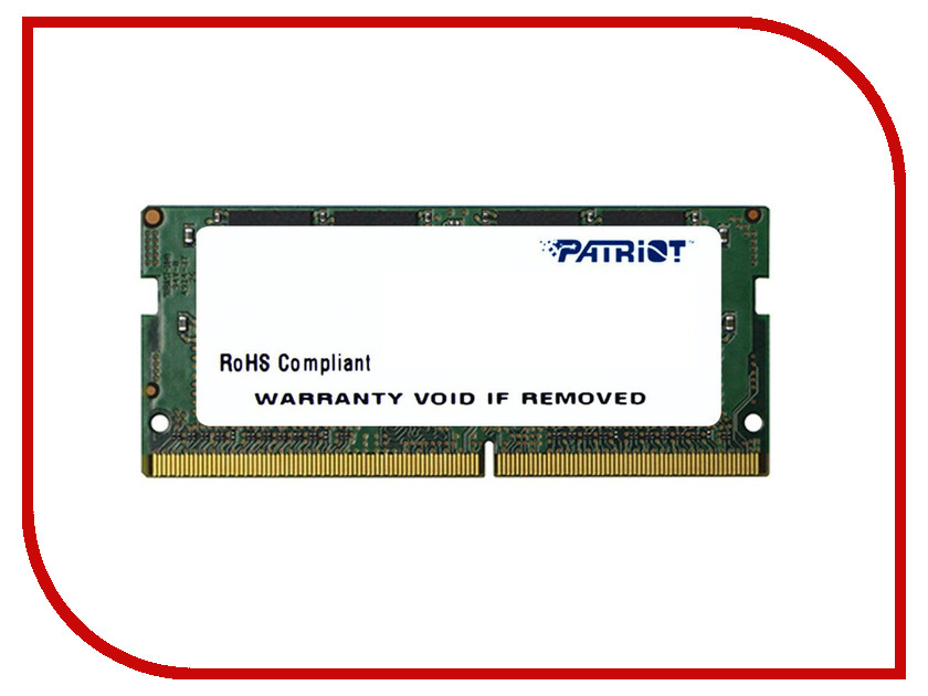 Модуль памяти PATRIOT DDR4 SO-DIMM 2133MHz PC-17000 CL15 - 8Gb PSD48G21332S модуль памяти so dimm ddr4 4gb pc17000 2133mhz patriot psd44g213381s