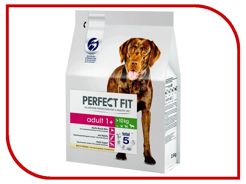 Корм Perfect Fit Курица 2.6kg 10166037 для собак средних и крупных пород корм для собак pro plan athletic для крупных пород курица сух 14кг