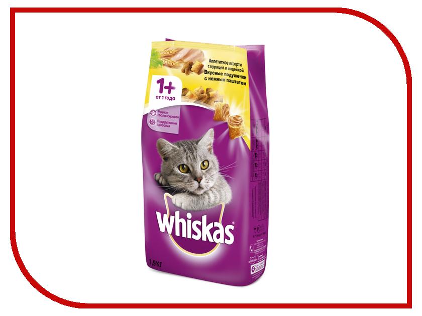 Корм Whiskas Подушечки Паштет курица / индейка 1.9kg 10150206 корм whiskas подушечки паштет молоко индейка морковь 350g для котят 10161188 10116570