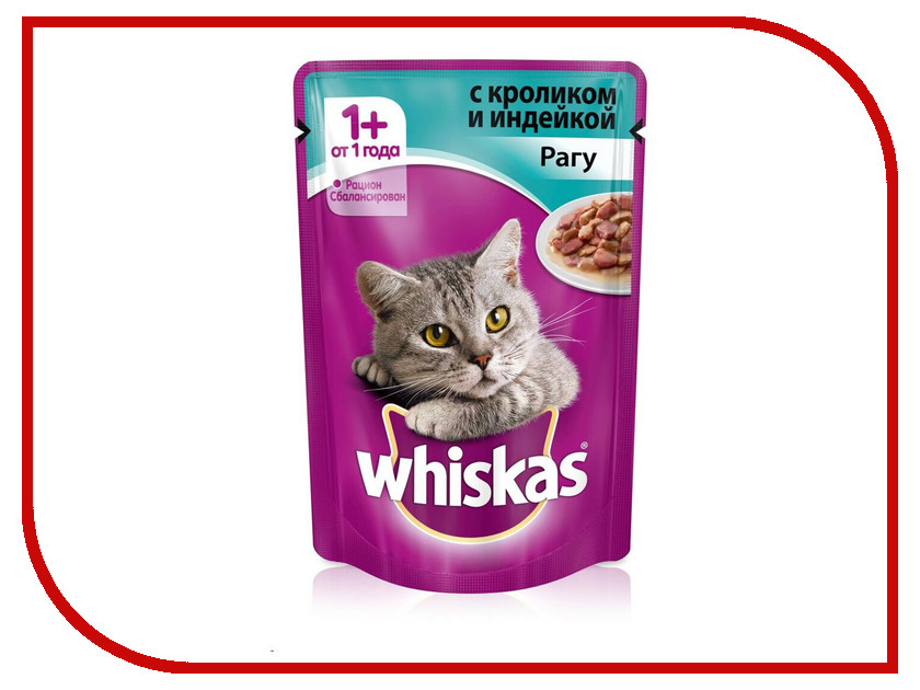 Корм Whiskas Пауч Рагу кролик / индейка 85g 10155460/10117357 whiskas temptations hearty beef flavour treats for cats