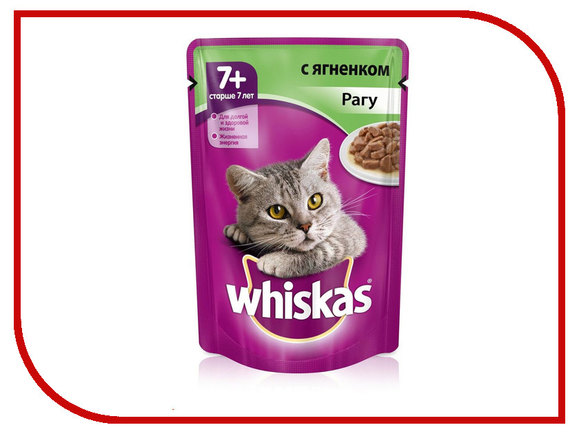 Корм Whiskas Пауч Рагу ягненок 85g для кошек старше 7 лет 10156215/10117335/YP869 whiskas temptations hearty beef flavour treats for cats