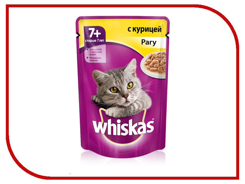 Корм Whiskas Пауч Рагу курица 85g для кошек старше 7 лет 10156217/10117321/XW997 whiskas temptations hearty beef flavour treats for cats
