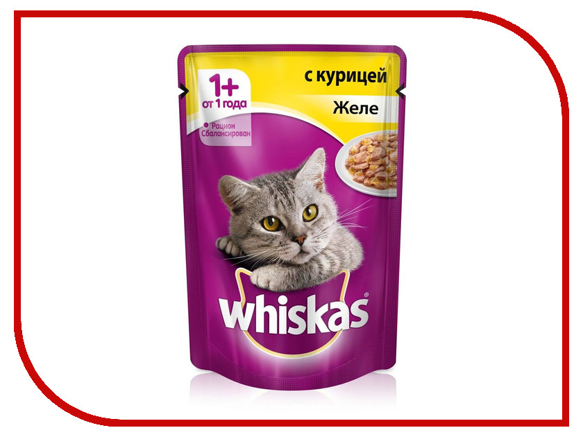 Корм Whiskas Пауч Желе курица 85g 10156243/10137274 whiskas temptations hearty beef flavour treats for cats