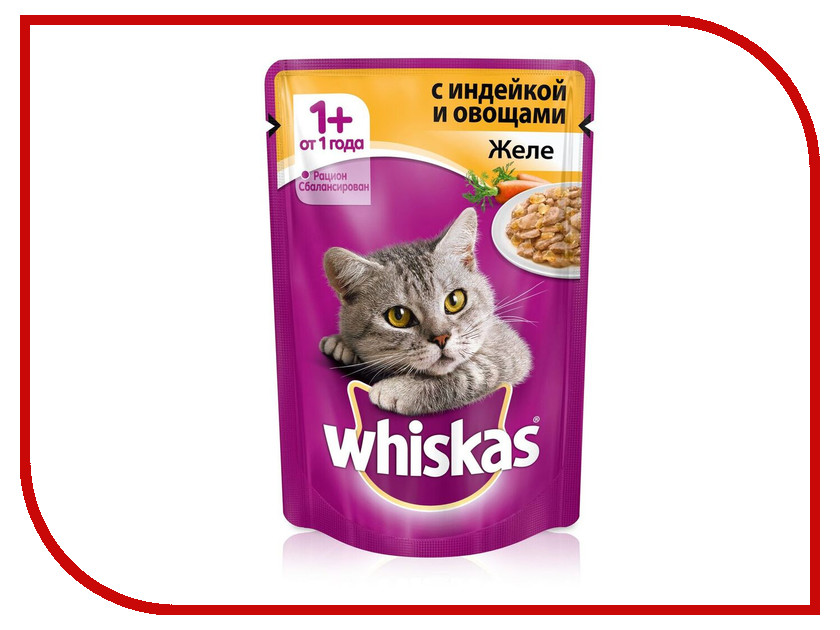 Корм Whiskas Пауч Желе индейка с овощами 85g 10156251/10137270 whiskas temptations hearty beef flavour treats for cats