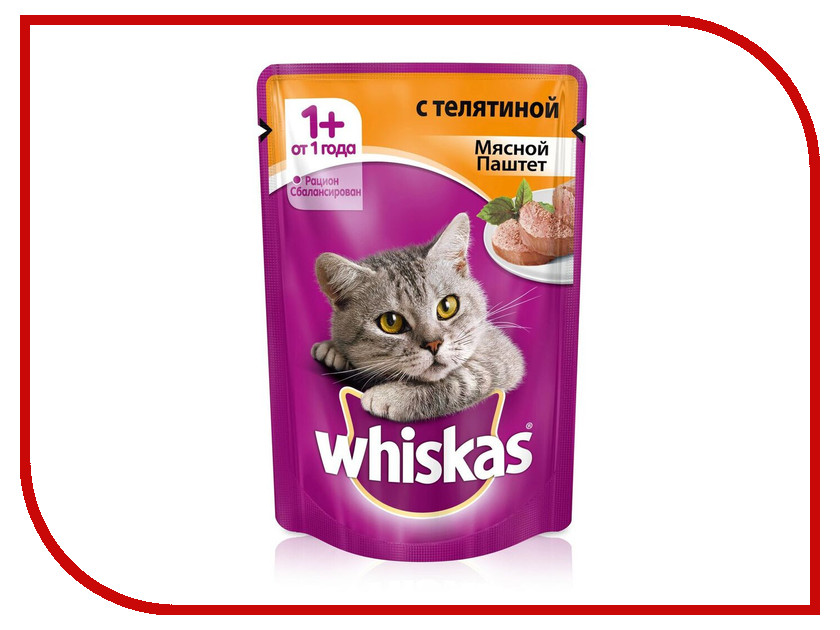 Корм Whiskas Пауч Мясной паштет телятина 85g 10156260/10149855/10117349/10113444 whiskas temptations hearty beef flavour treats for cats