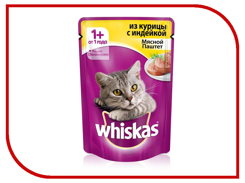 Корм Whiskas Пауч Паштет курица / индейка 85g 10156262/10149851/10117331/XX475 whiskas temptations hearty beef flavour treats for cats
