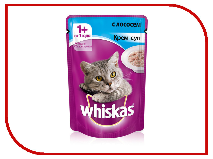Корм Whiskas Пауч Крем-суп с лососем 85g 10156266/10151095 whiskas temptations hearty beef flavour treats for cats